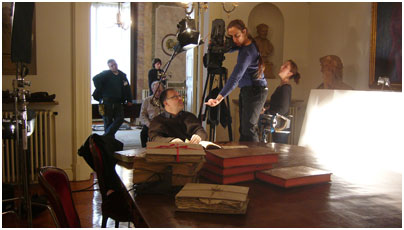 Cinematographer Halpern frames Bishop Landa's Relación, a key document in the decipherment, in the library of the Academia Real de Historia, Madrid.