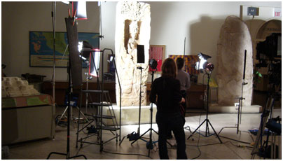 Lighting a stela in the University of Pennsylvania Museum of Archaeology.