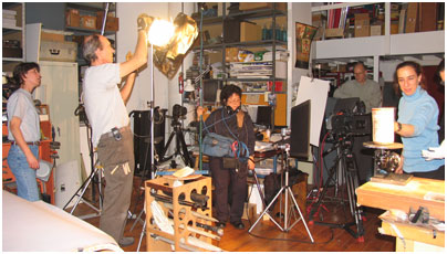 Lighting in the studio of Maya art photographer Justin Kerr, New York City.