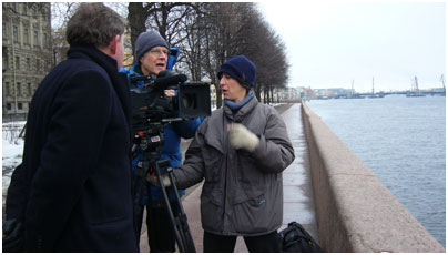 Shooting on the banks of the Neva, St. Petersburg, Russia.