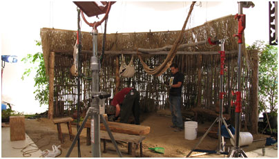 Building a Maya house interior on a Panavision sound stage.