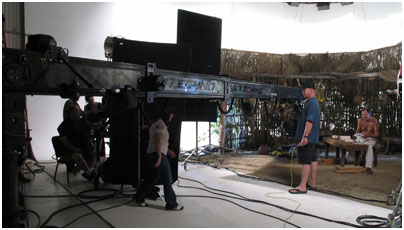 Shooting the Maya interior with a Panavision Technocrane.