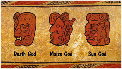 Animation showing 19th century decipherment of the glyphs for Maya gods.