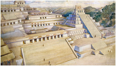 Painting of Piedras Negras by Mayanist Tania Proskouriakoff