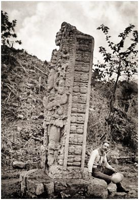 Early photograph by Alfred Maudslay of a stela at Copán.