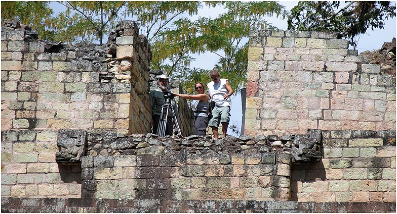 Cinematographer and lighting designer Amy Halpern with Lebrun and Kline on the acropolis at Copán.