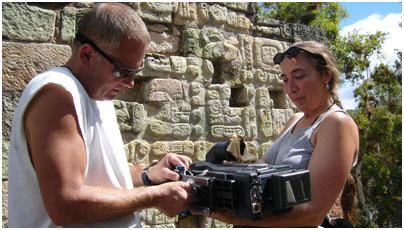 Cinematographers Steven Kline and Amy Halpern adjust the Panasonic SDX900 camera at Copán.