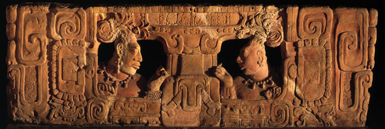 Seat back of a carved throne from Piedras Negras