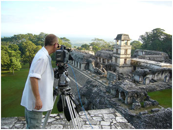 Cinematographer Steven Kline frames the palace at Palenque.